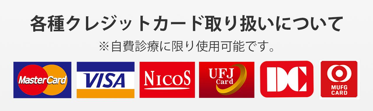 各種クレジットカード取り扱いについて - ※自費診療に限り使用可能です。
