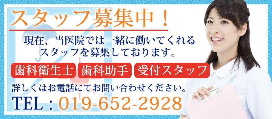 歯科衛生士・歯科助手・受付スタッフ募集中!詳しくはお電話にてお問い合わせください。