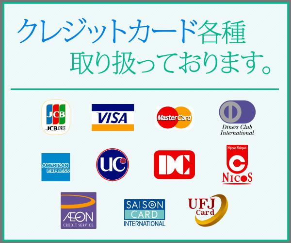 クレジットカード各種取り扱っております。