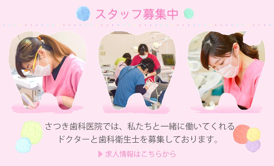 さつき歯科医院では、私たちと一緒に働いてくれるスタッフを募集しております。