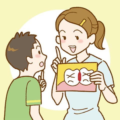 お子さんがしっかり歯を磨けているかチェックしながら点検磨き