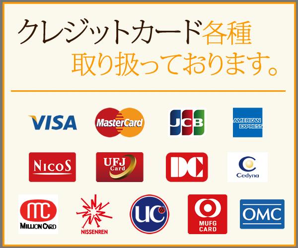 クレジットカード各種取り扱っております