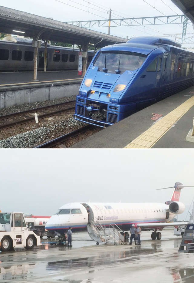 特急ソニック号で移動、仙台は飛行機