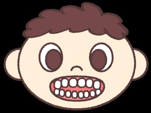 開咬 (前歯で噛めない)
