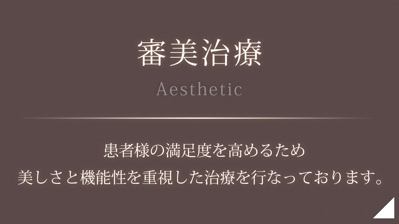 審美治療 - 患者様の満足度を高めるため美しさと機能性を重視した治療を行なっております。