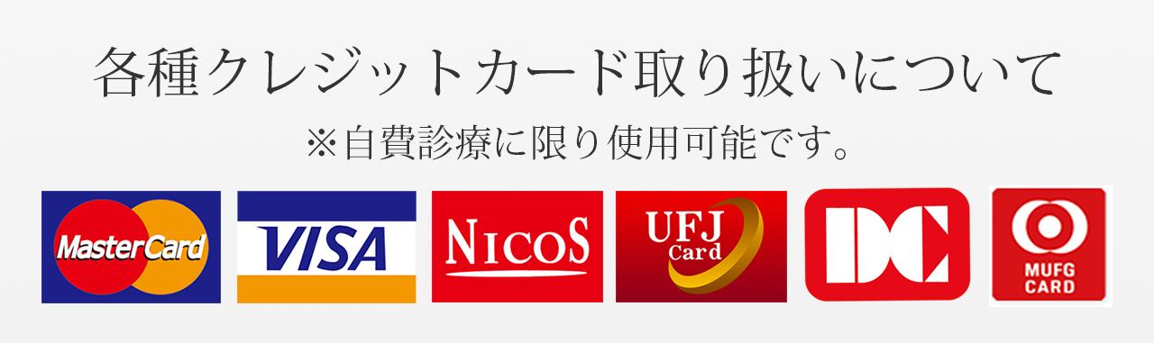 各種クレジットカード取り扱いについて ※自費診療に限り使用可能です。